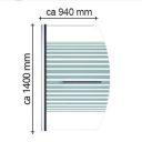 Paravan cada EGO-1121, sticla securizata 6 mm, Transparent sau Mat, 94x140 cm