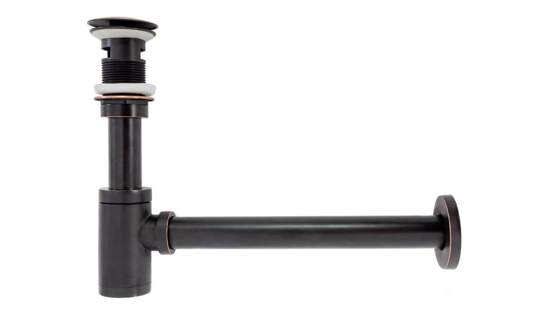 Sifon de scurgere+ ventil klik-klak, sistem Push-up, finisaj Negru Mat